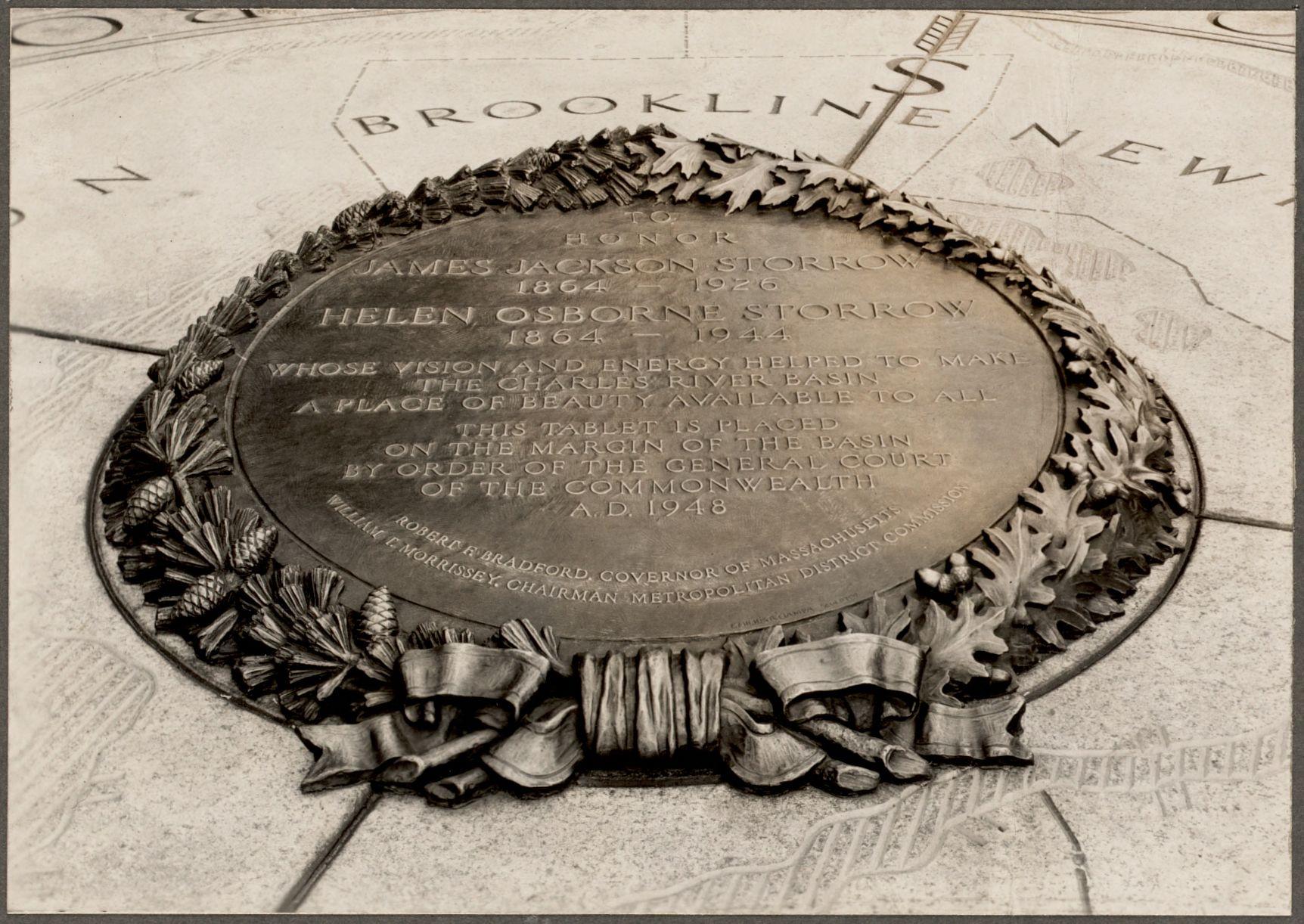 """Dedication of the James Jackson Storrow and Helen Osborn Storrow Memorial, Gloucester Street - Storrow Memorial embankment, July 27, 1949."""