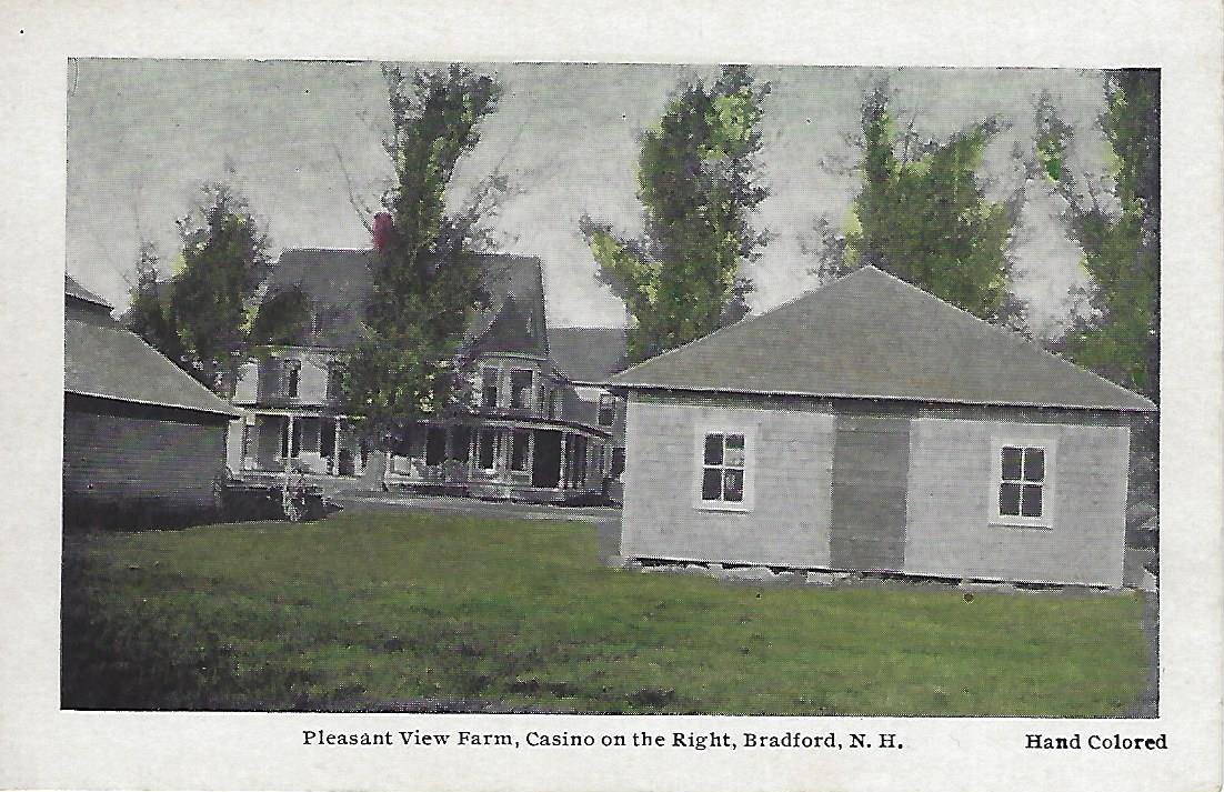 The old Casino across Pleasant View - postcard. The building is still there as a shell only. The historical society tried to move it to a new location but the old, tired condition of the building did not allow for it to be moved without falling.