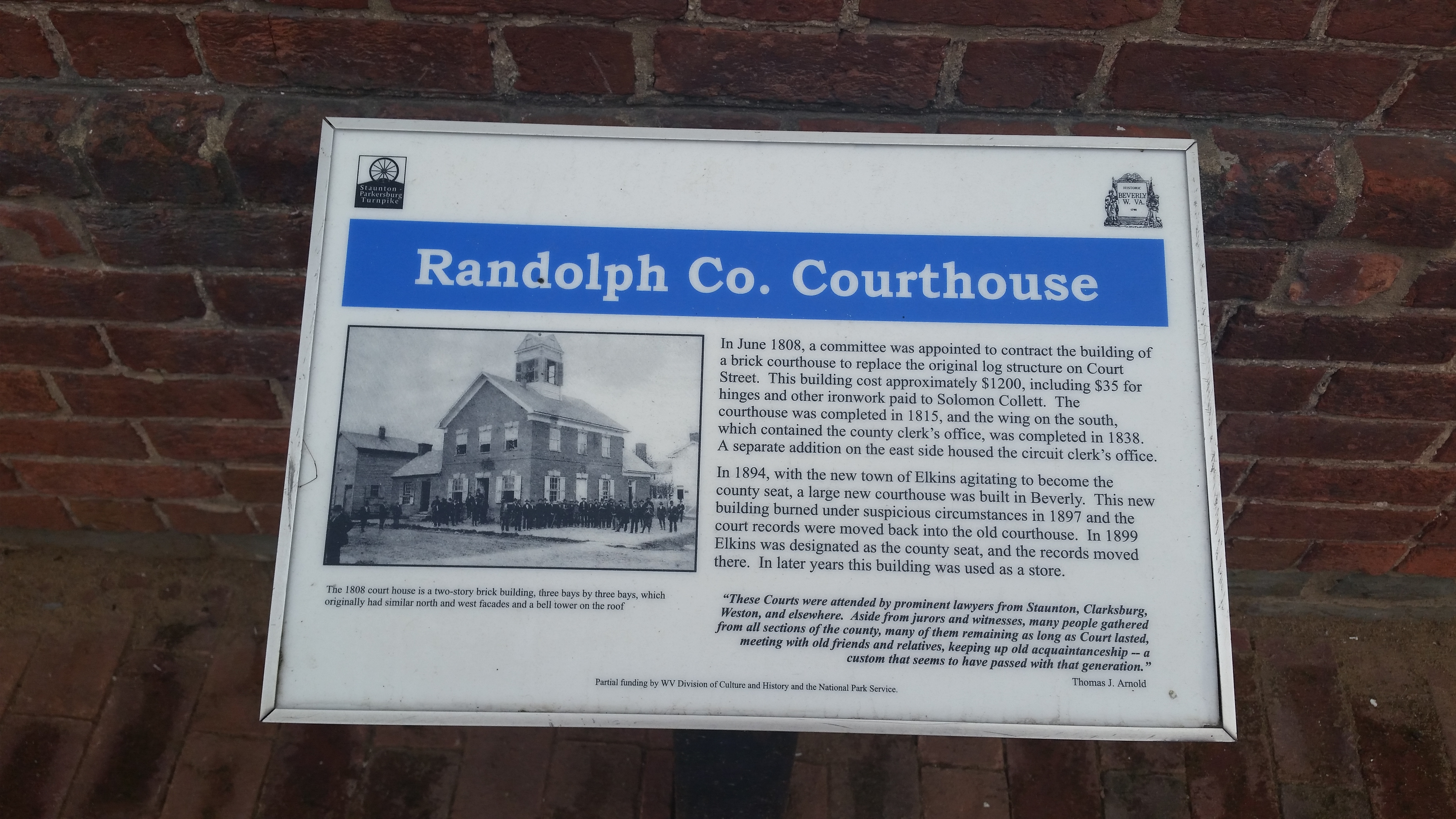 Randolph Coutny Courthouse Marker