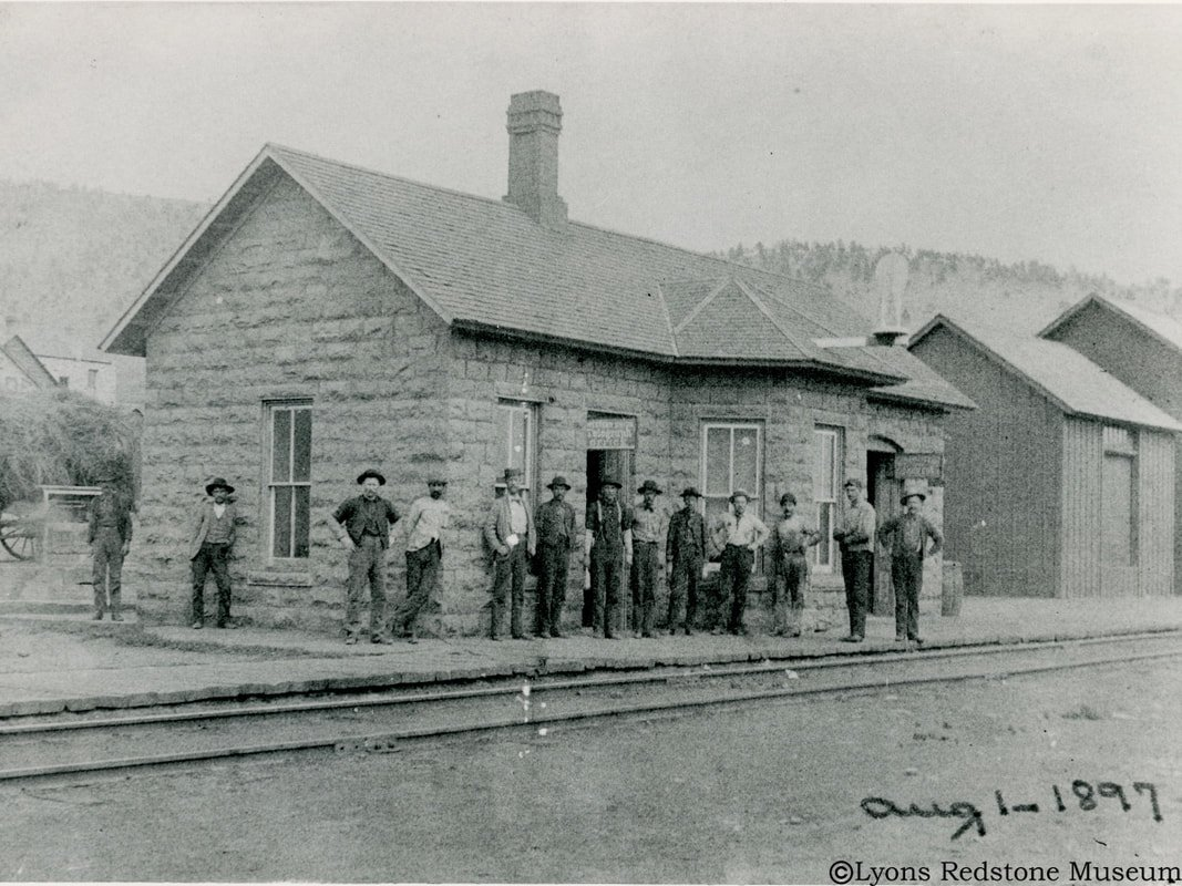 The Lyons Depot in 1897. Photo courtesy of the Lyons Redstone Museum.