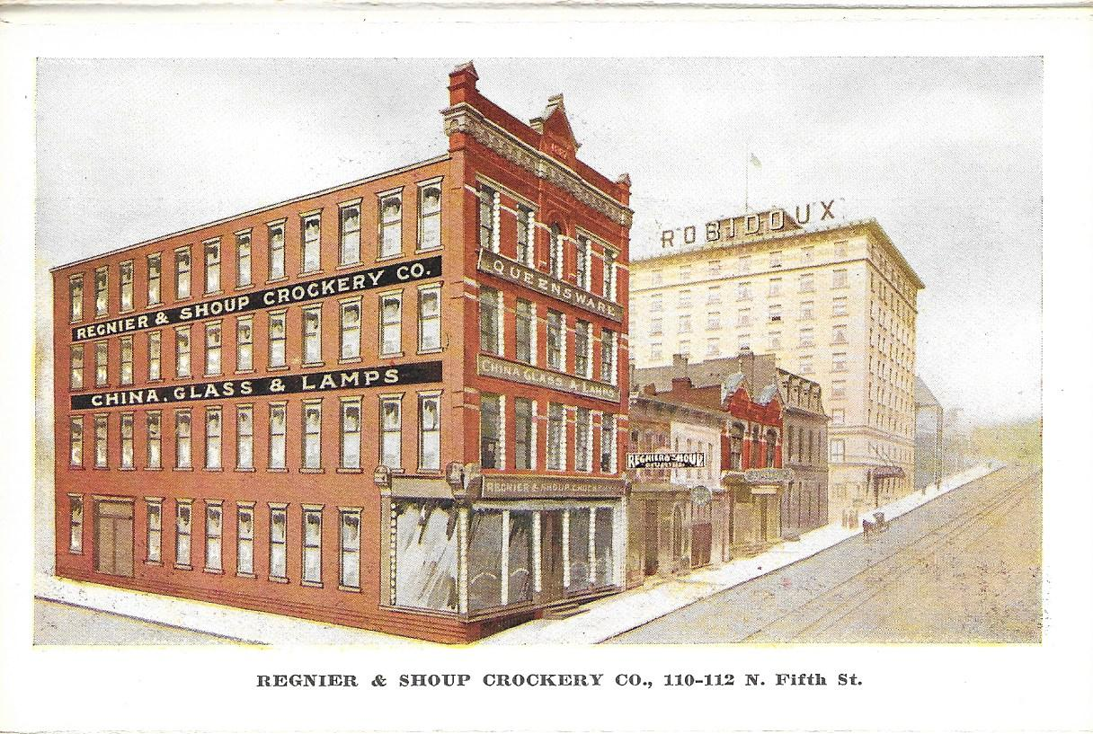 Postcard depicting the block of Fifth Street between Felix and Francis with the Hotel Robidoux in the background. This block is now a parking garage. Image provided by the St. Joseph Museums, Inc.