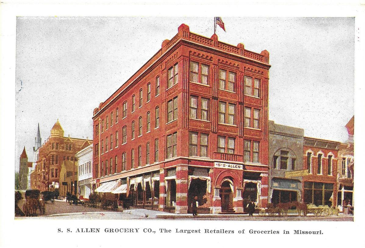 Postcard of the S.S. Allen Company at Seventh and Edmond Streets. The Schneider Building can be seen in the background with the domed tower. Image provided by the St. Joseph Museums, Inc.