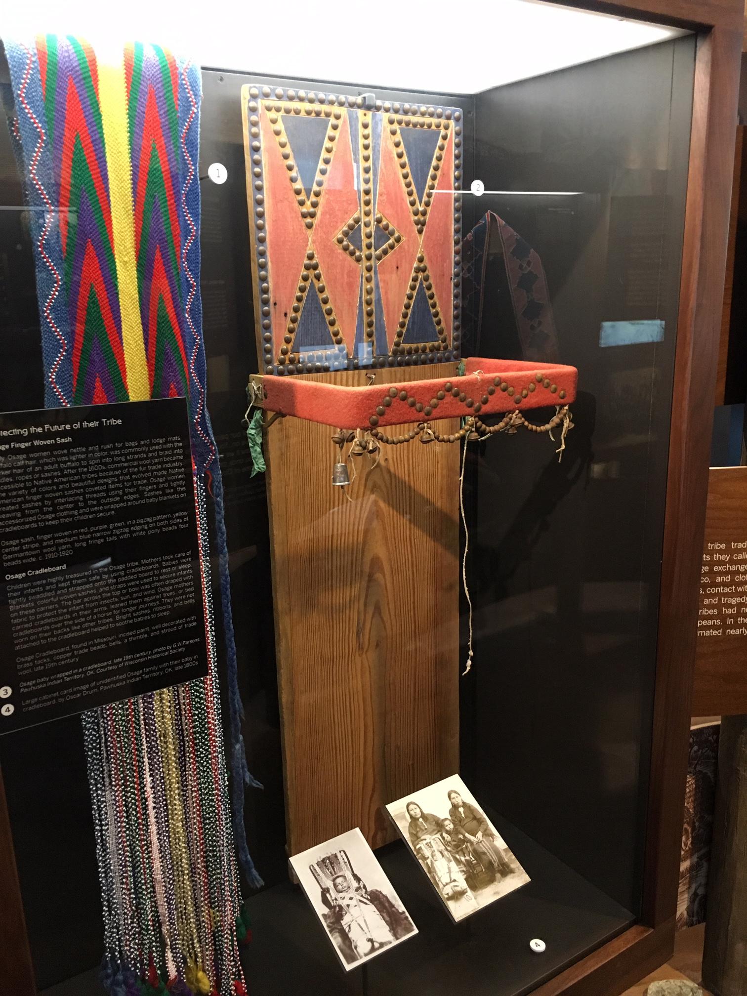 Osage Finger Woven Sash and Cradleboard