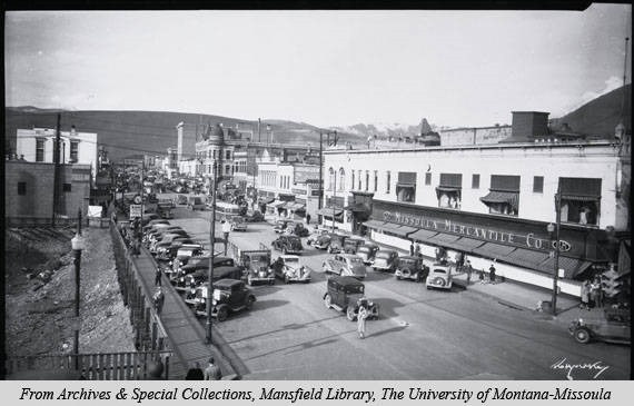 A picture of the Missoula Mercantile company from 1937. Image courtesy of mtmemory.org