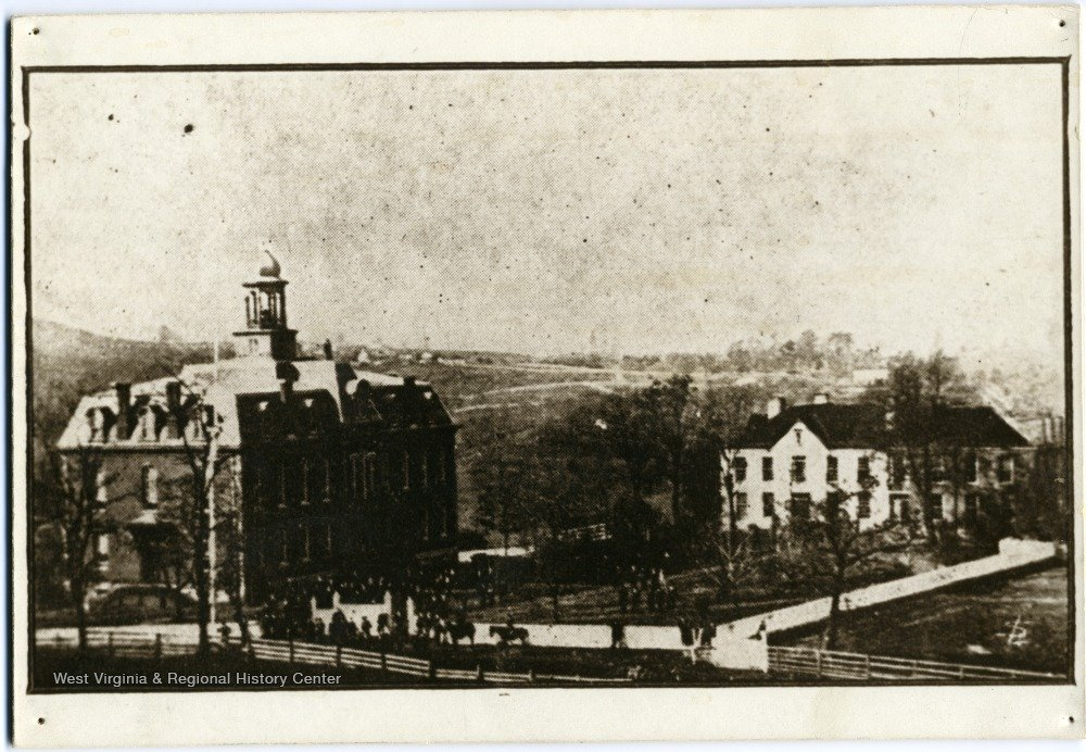 Martin Hall (left) and Woodburn Seminary (right) shortly after Martin Hall's construction in 1870. Courtesy of the West Virginia & Regional History Center.