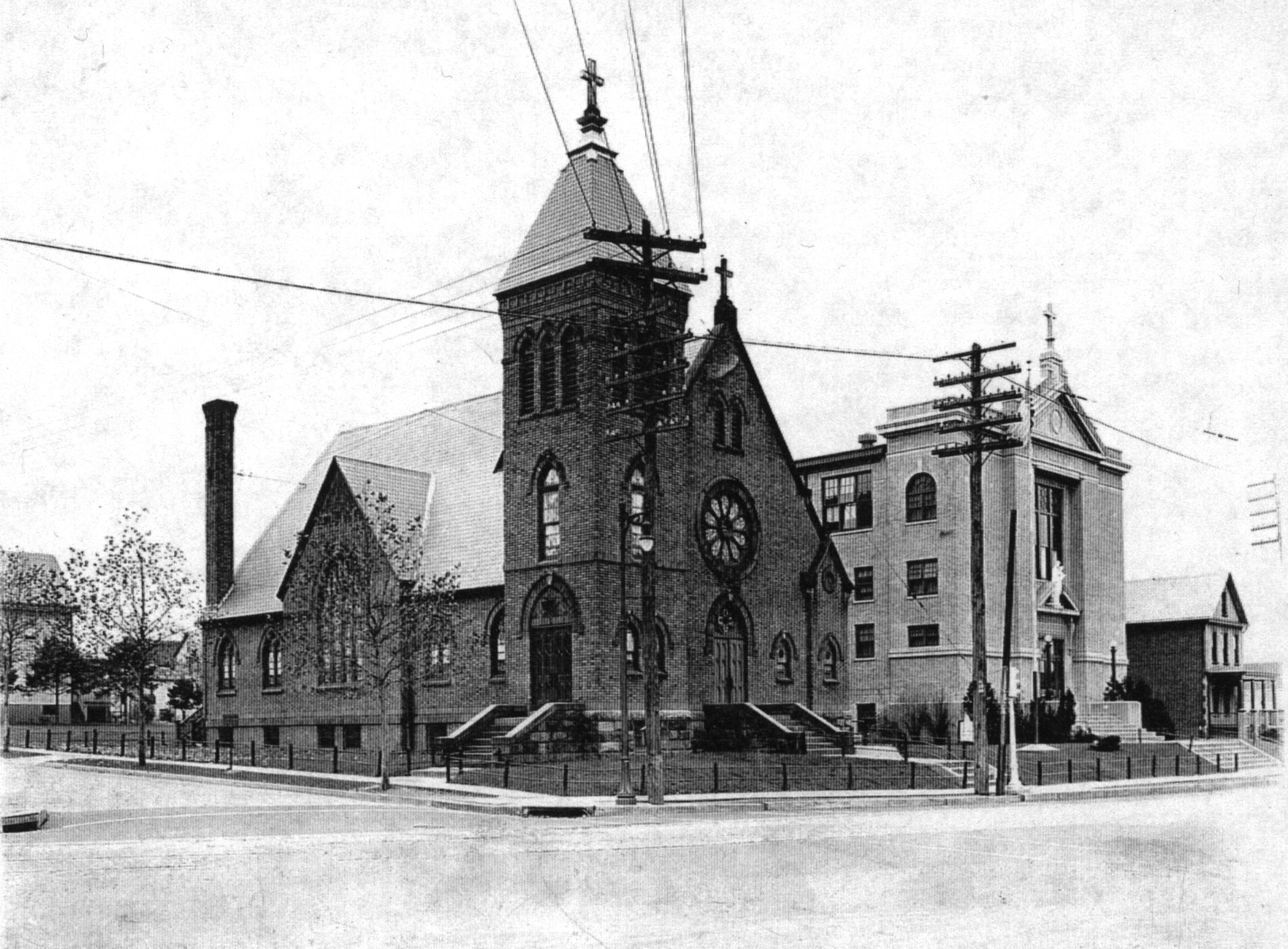 Church, school, and the original rectory c. 1928