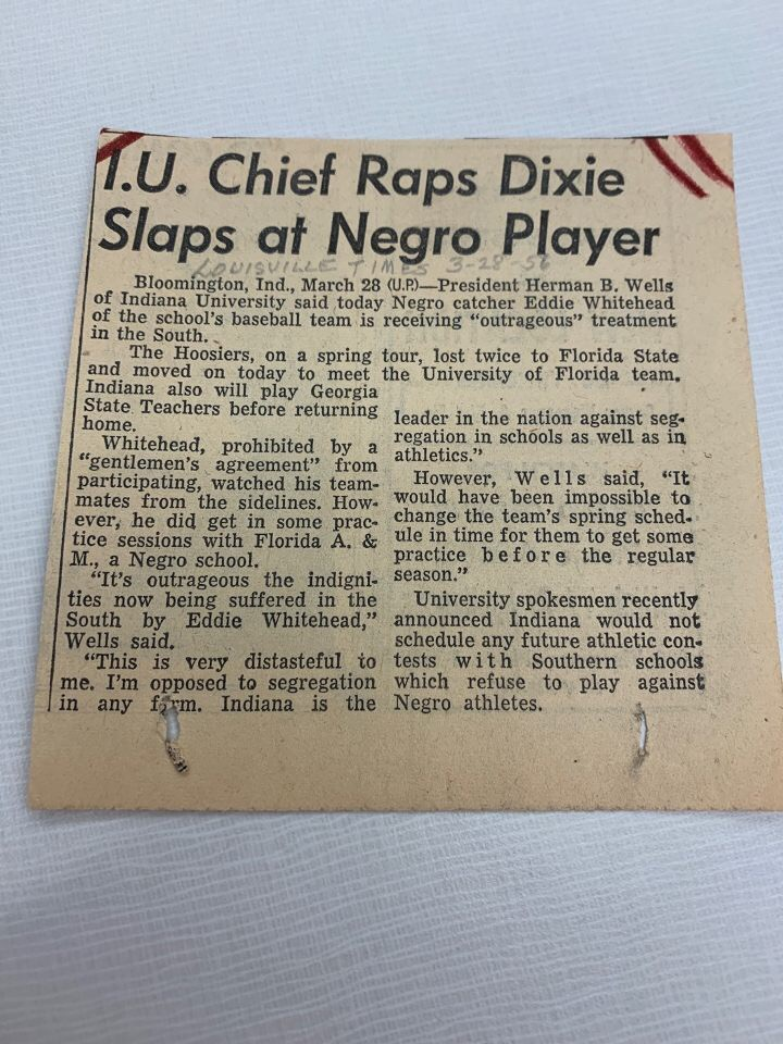 This article from the Louisville Times perfectly summarizes the troubles and main ideas of the infamous Spring trip to Florida. Due to a gentleman's agreement, Whitehead was forbidden to play in all games and places except a small integrated school named Florida A&M. In this denial and avoidance of equality, a spark was lit by Herman Wells that would ultimately play a major role in the integration of not just ballplayers, but African American citizens around the US.