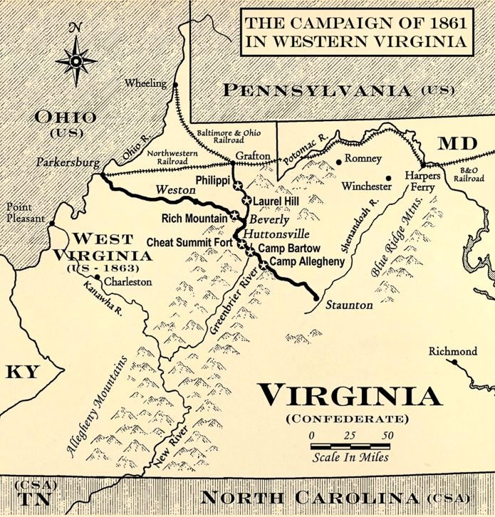 Map of the 1861 campaign that culminated in the Battle of Rich Mountain. Courtesy of the Rich Mountain Battlefield Foundation.