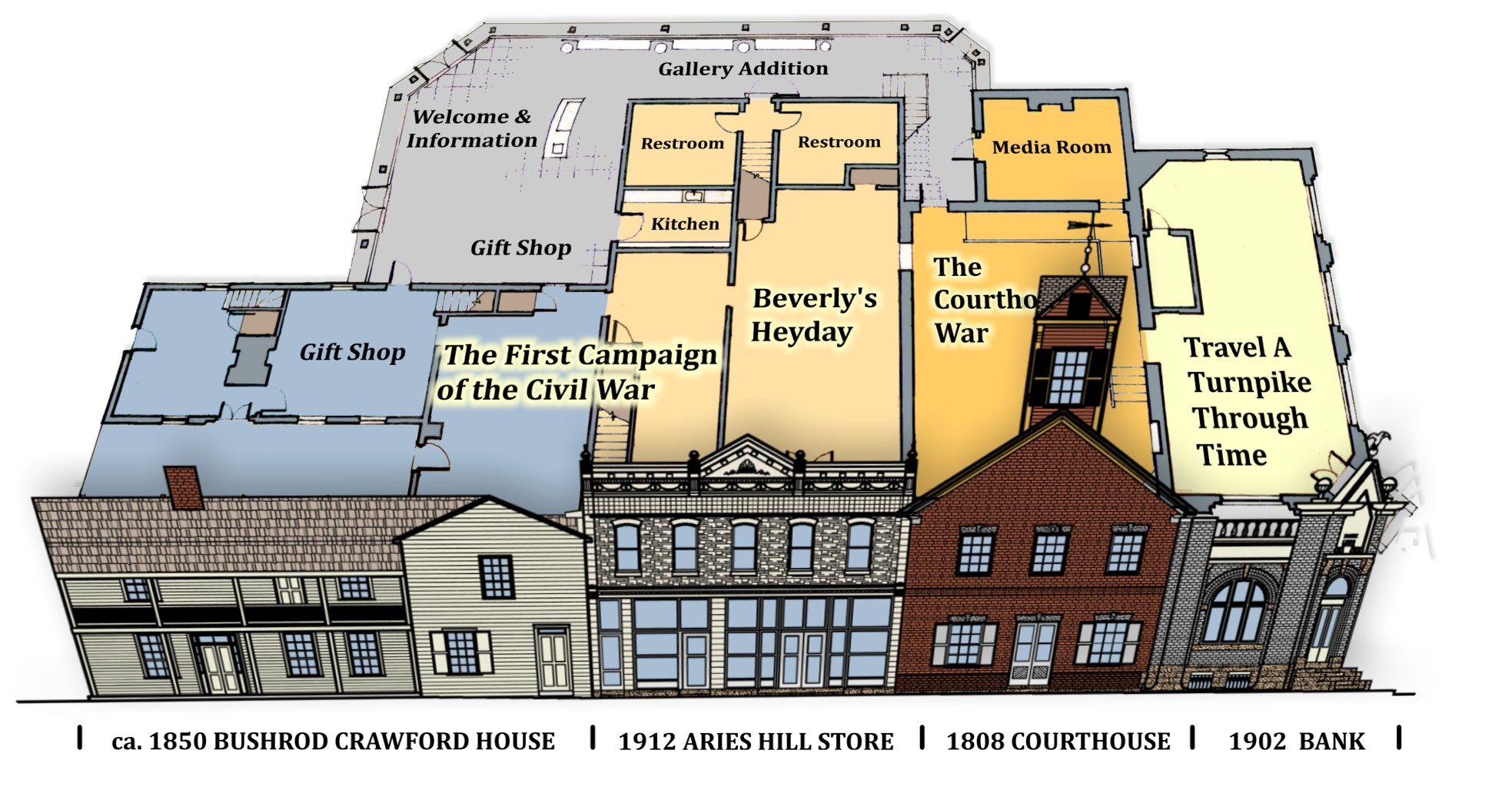 Map of the interior of the Beverly Heritage Center, which combines the Old Beverly Courthouse with three other buildings on Court Street.