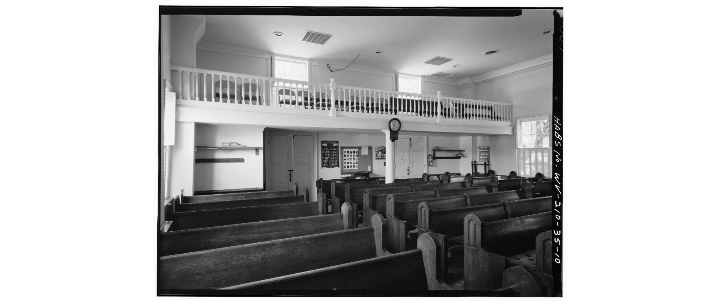 Interior of the church, showing the balcony, 1980