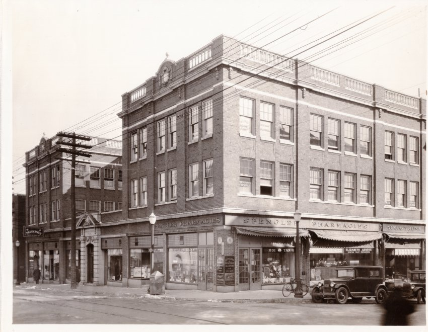 Physicians & Surgeons Building Photo, 702 Francis, 1916.  Spengler Pharmacy occupies 1st floor. Doctors names painted on 2nd & 3rd story windows. Image provided by the St. Joseph Museums, Inc.