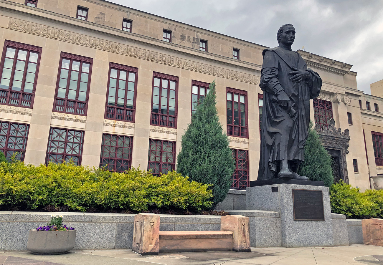 The Christopher Columbus Statue that stood outside of the Columbus City Hall from October of 1955 until July of 2020.
