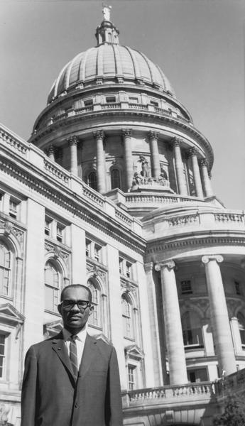 Lloyd Barbee at the Wisconsin Capitol Building, 1964. Photo Credit: Wisconsin Historical Society