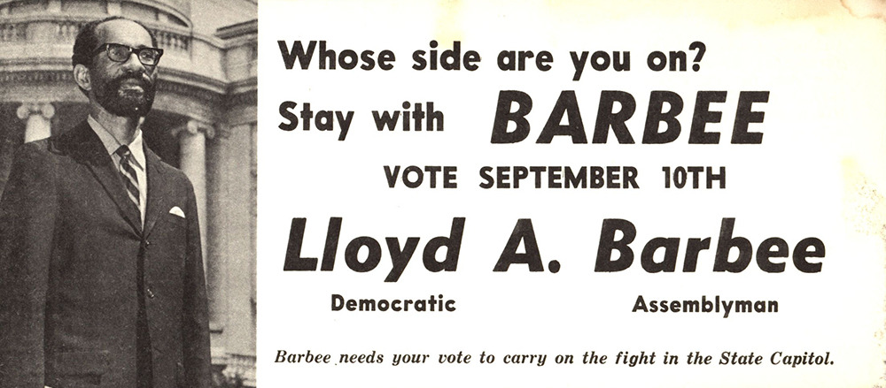 Barbee re-election campaign sign, 1968. Photo credit: UWM archives
