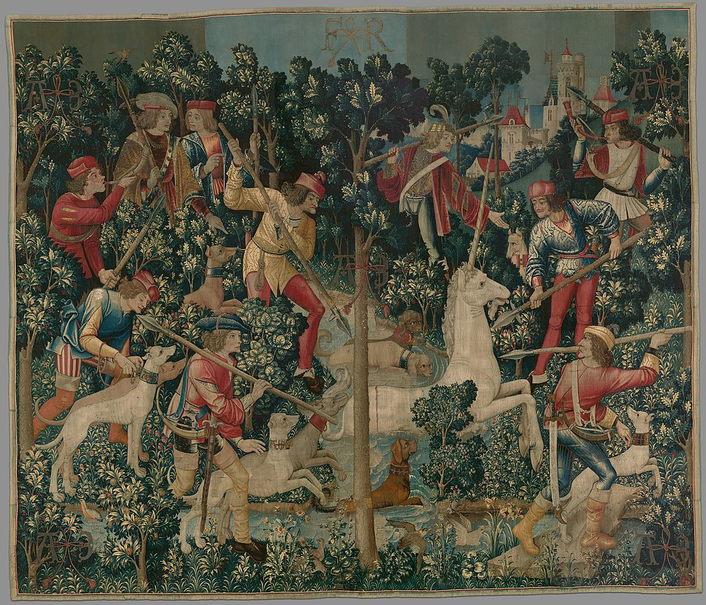 """The Unicorn is Attacked"" from the Unicorn Tapestries series, one of The Cloister's most important sets of textiles."