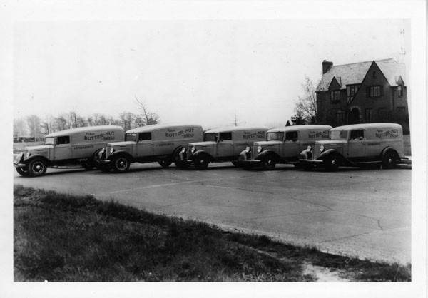 """Delivery vehicles for Lembright's Bakery. Lembright's Bakery was """"The Home of the PRINCESS And BUTTERNUT Bread""""."""