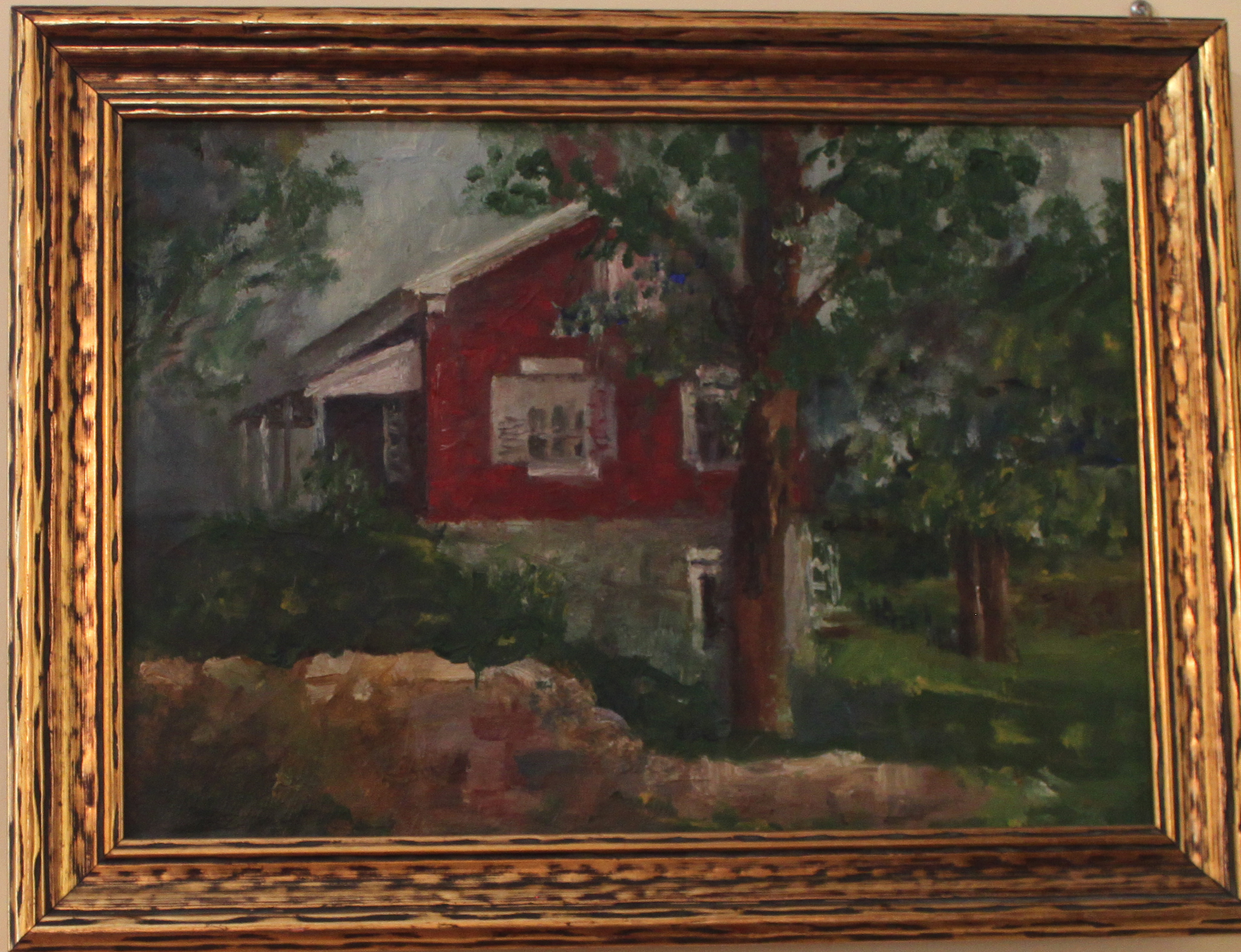 Framed, side view painting of Edison Home