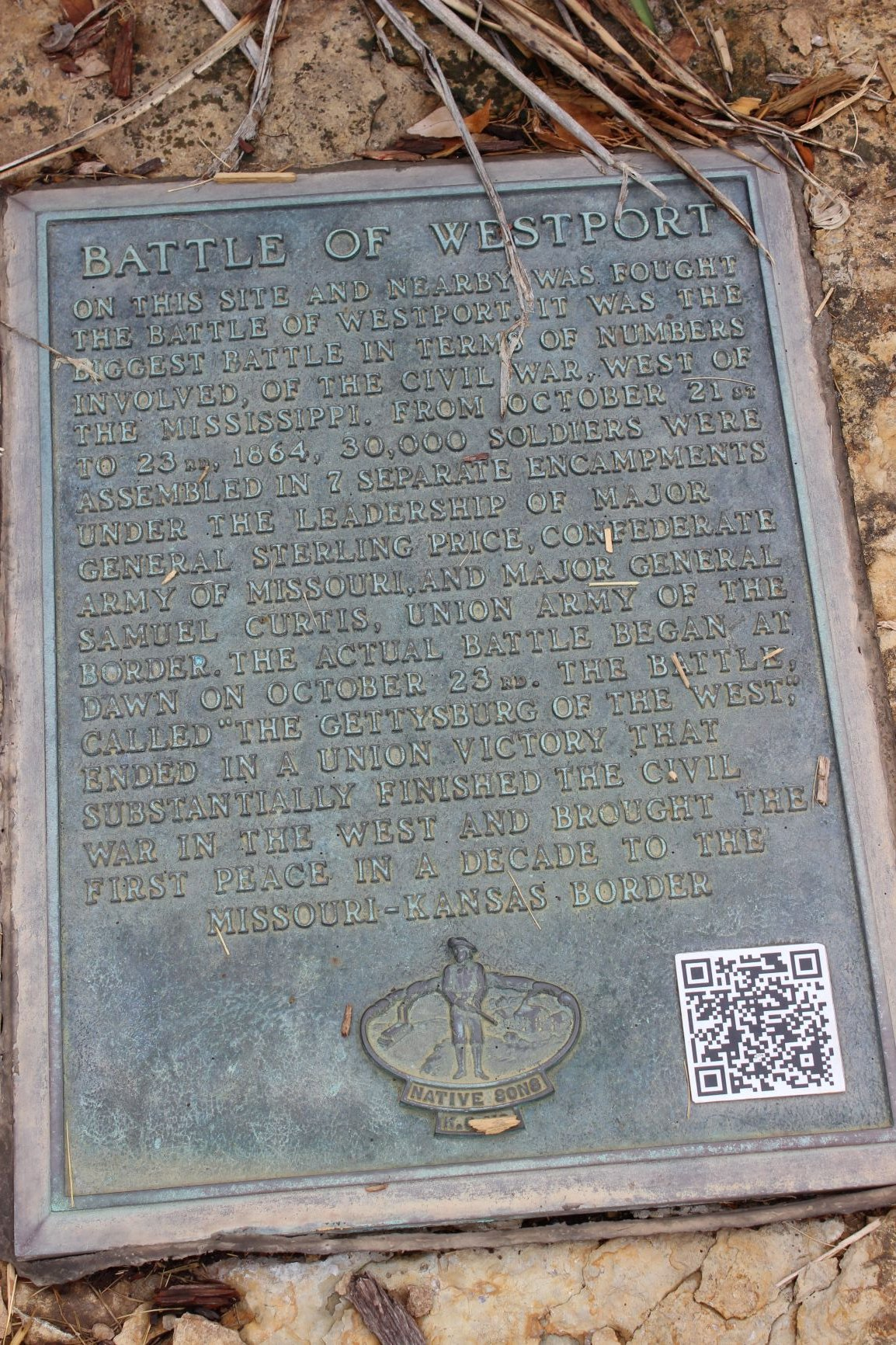 Battle of Westport interpretive plaque. Photo by Cynthia Prescott.