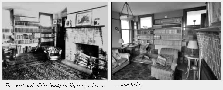 "A ""before and after"" shot of Kipling's study."