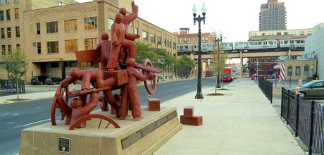 """Haymarket Memorial"" statue: 2004 by Mary Brogger. Bronze monument commemorating the 1886 Chicago Haymarket riot, an internationally significant and volatile event in the struggle between business, labor, and law enforcement."