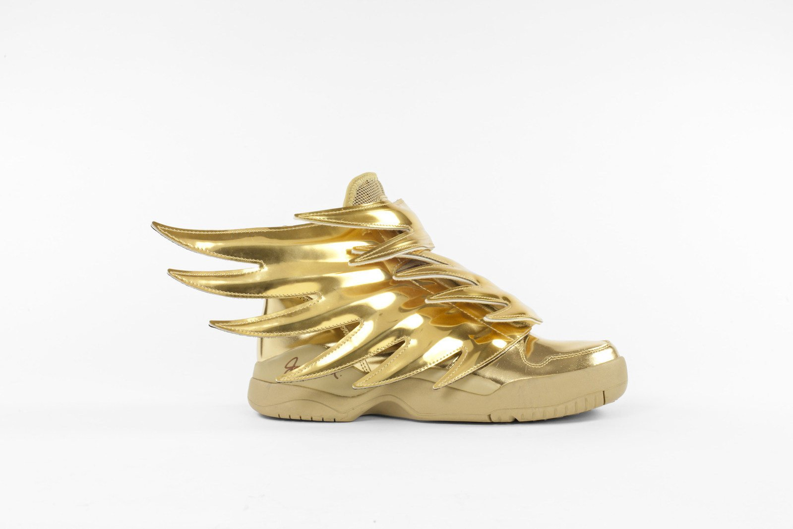 Jeremy Scott x Adidas sneakers that are in one of the museum's exhibitions titled The Gold Standard.