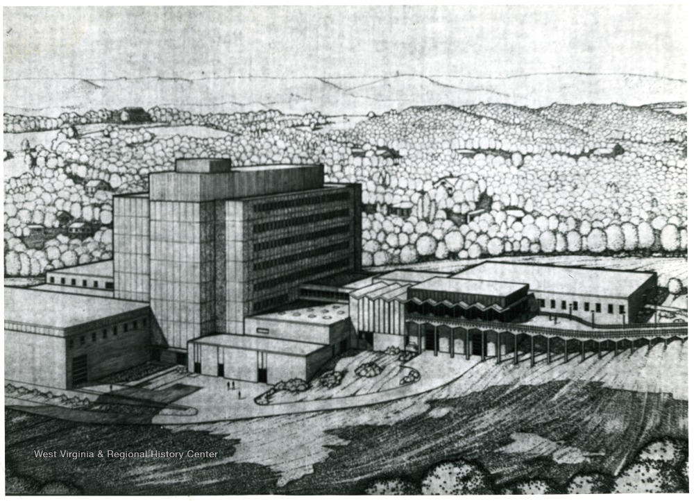 Architect's drawing of Percival Hall and Allen Hall. Percival Hall was constructed in 1965, Allen Hall four years later.