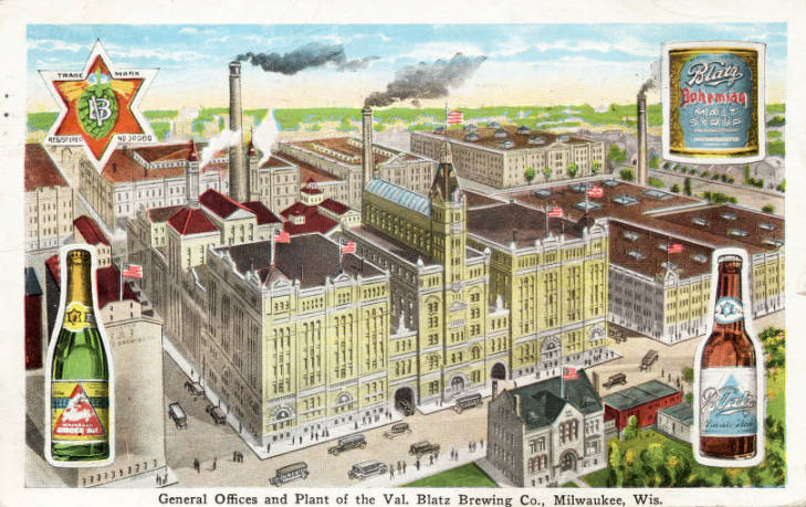 Postcard showcasing Blatz brewery and its products. Unknown date. Photo credit: Encyclopedia of Milwaukee.