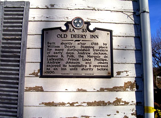 Plaque on side of Old Deery Inn, 2001