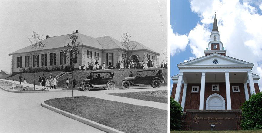 Old and modern photos of First Presbyterian Church