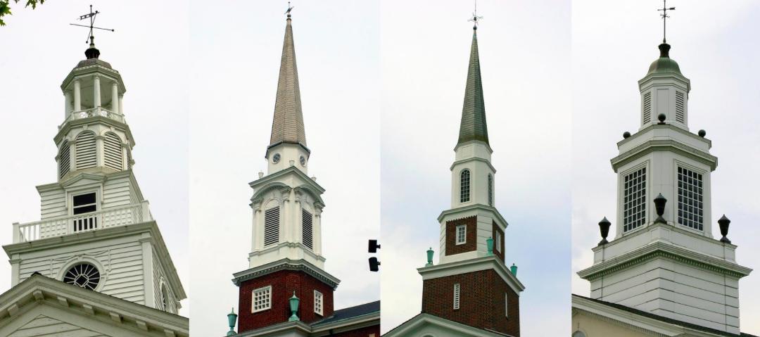 Steeples of churches in Church Circle, 2011; from left: Woodyard Center, Methodist Church, Presbyterian Church, Baptist Church