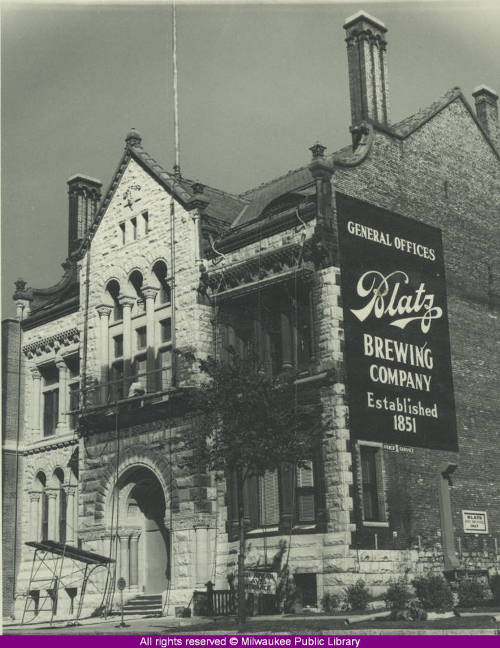 Blatz brewery offices prior to 1958. Photo credit: Milwaukee Public Libraries