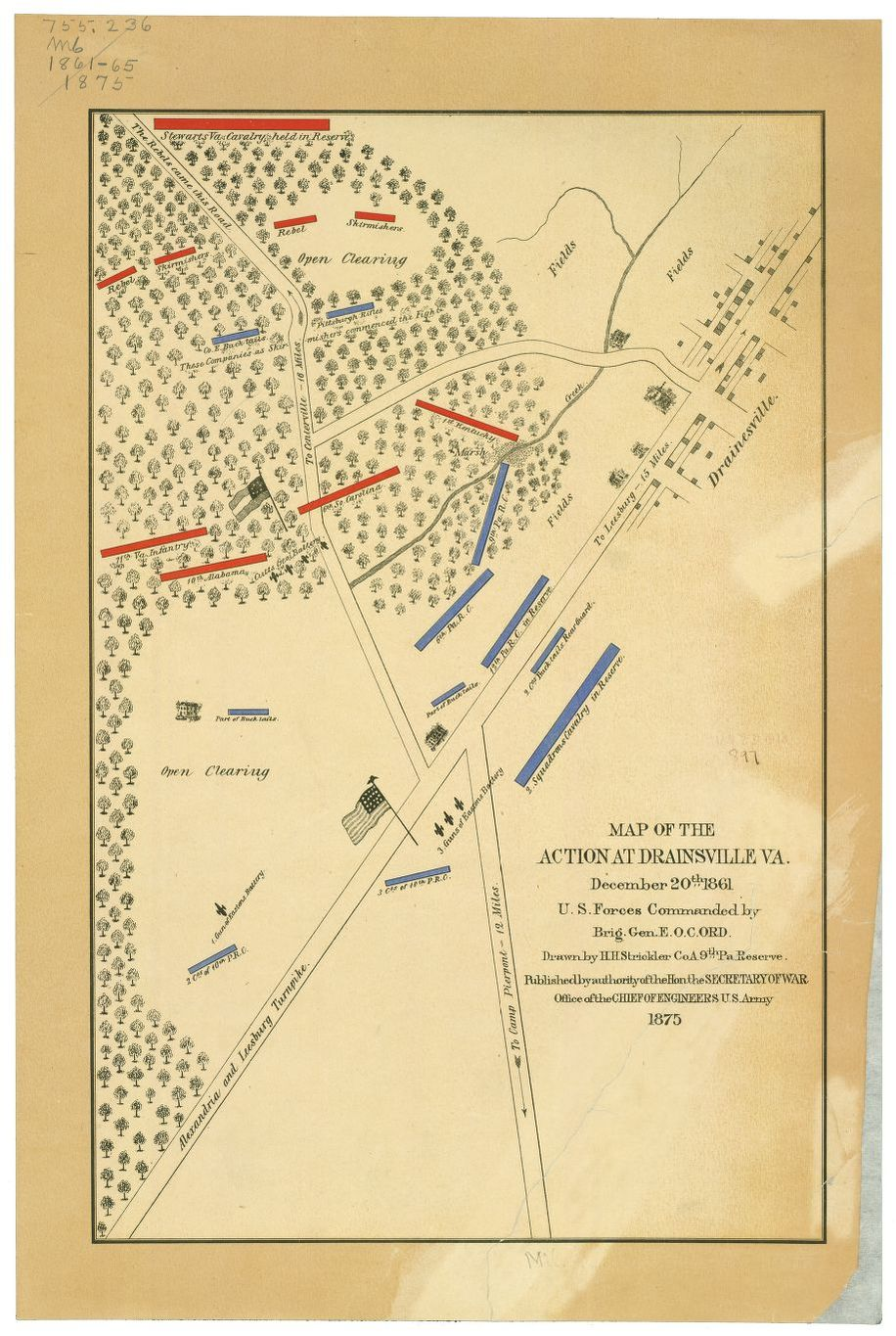 Map of the Battle of Dranesville by the US Army Corps of Engineers, 1875
