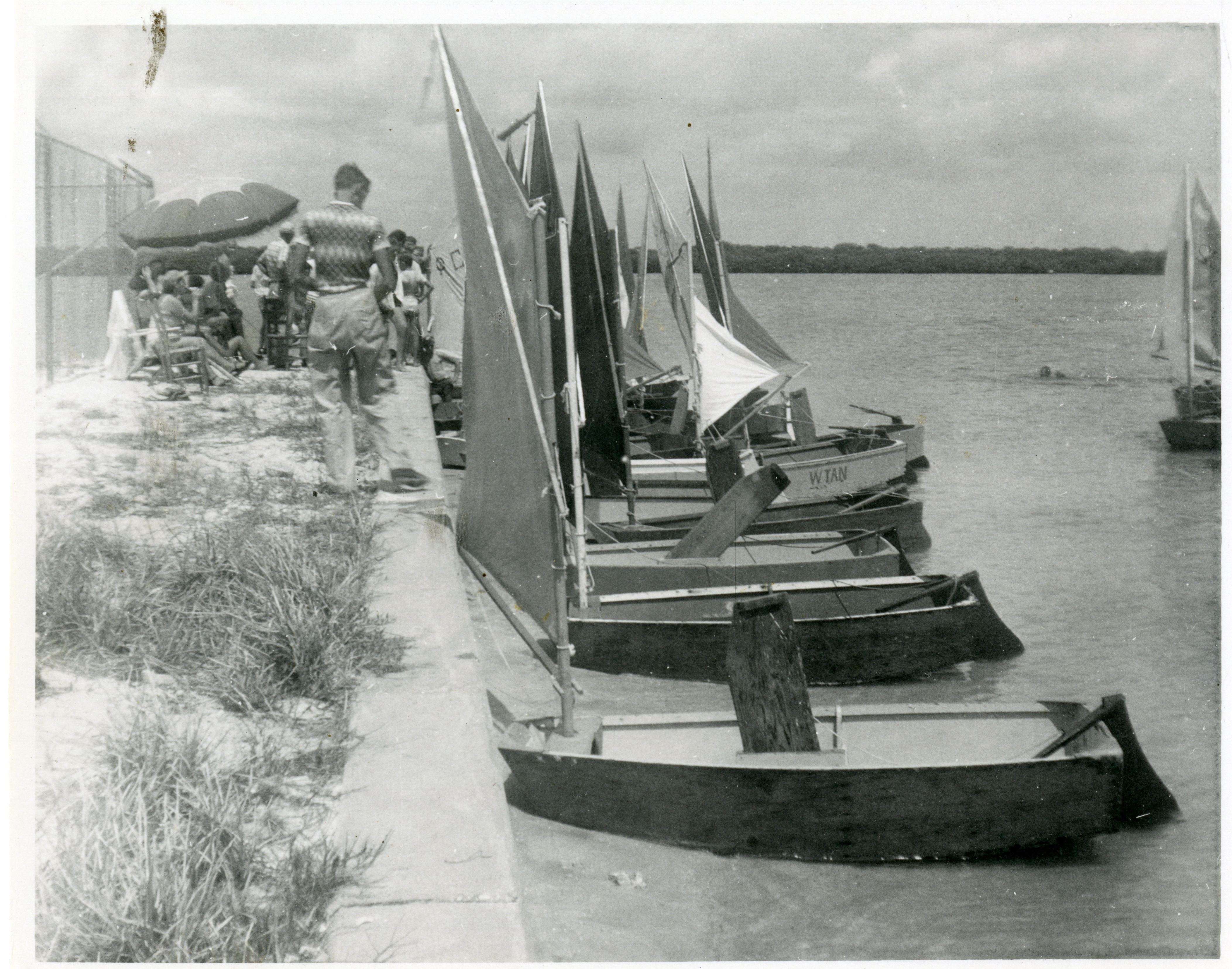 Docked prams in Clearwater, Florida, circa 1948.