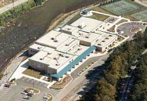 An aerial view of the center