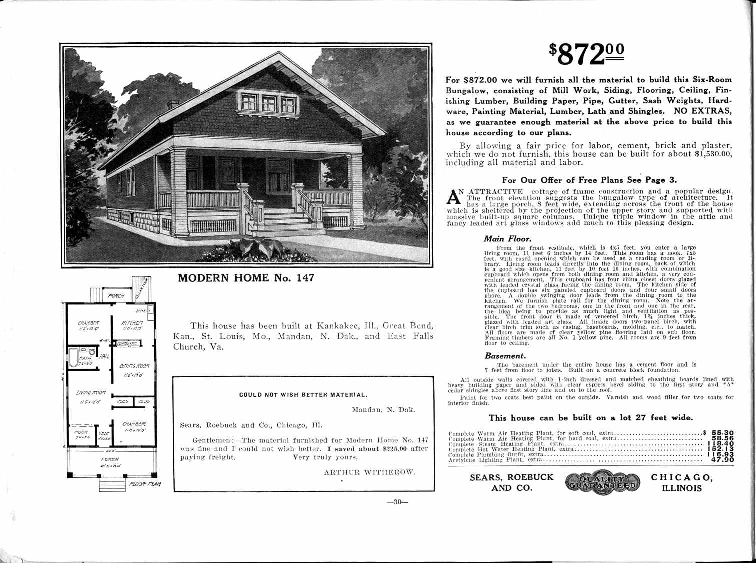 Image of a Sears Home kit that looks similar to the home at 13 Branch Street. Renovations may have been made since its construction in 1911.