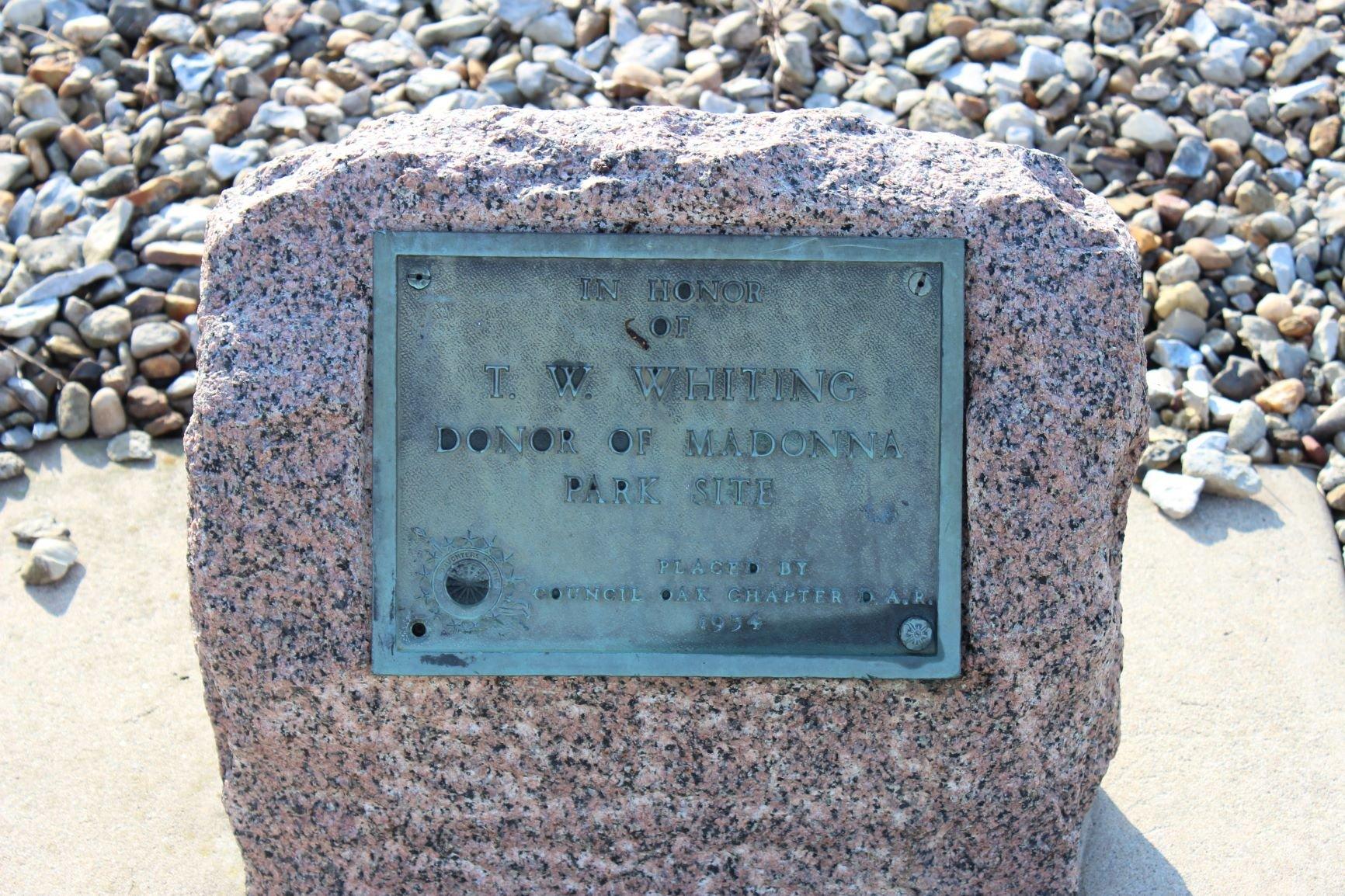 Madonna Park plaque. Photo by Cynthia Prescott.