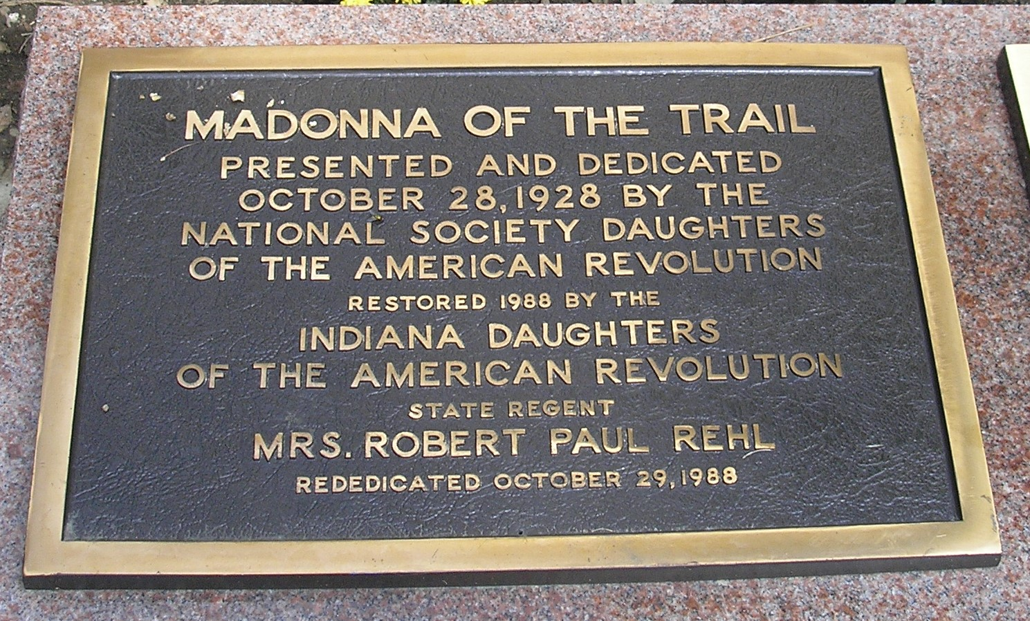 Rededication plaque. Photo by Cynthia Prescott.