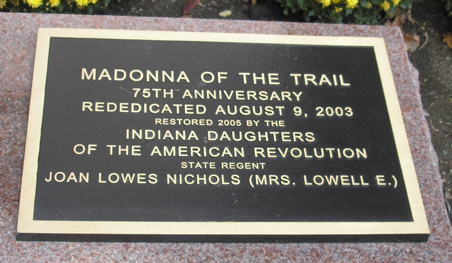 75th anniversary plaque. Photo by Cynthia Prescott.