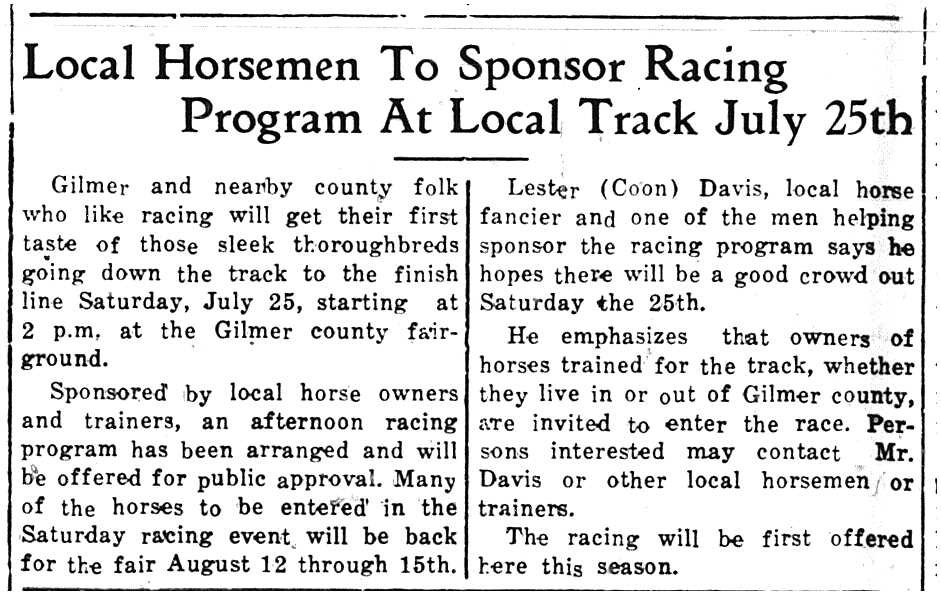Horse racing was one of the most popular activities at the fairgrounds.
