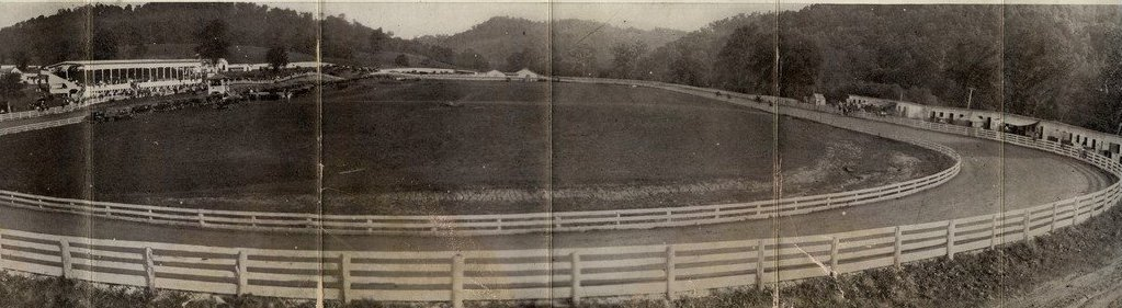 This is a complete view of the racetrack that was present at the Gilmer County Fairgrounds.