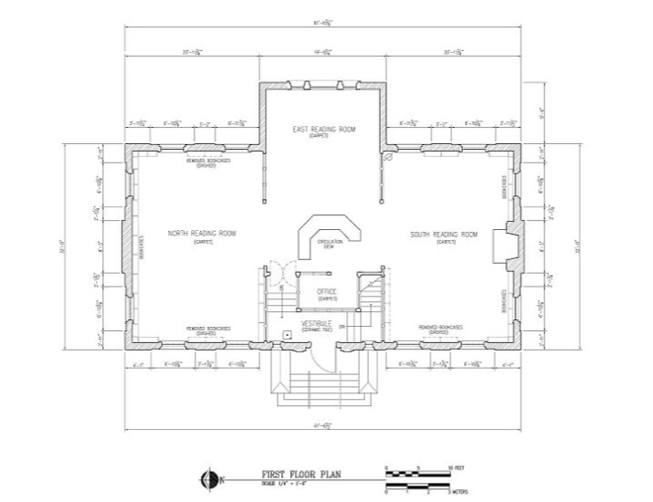 Plan drawing of first floor of Grace Keiser Maring Library, HABS IN-303 (Spodek 2006)
