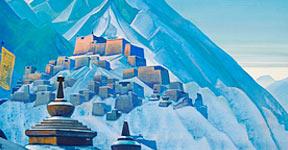 "Roerich's painting, ""Tibet, Himalayas."""