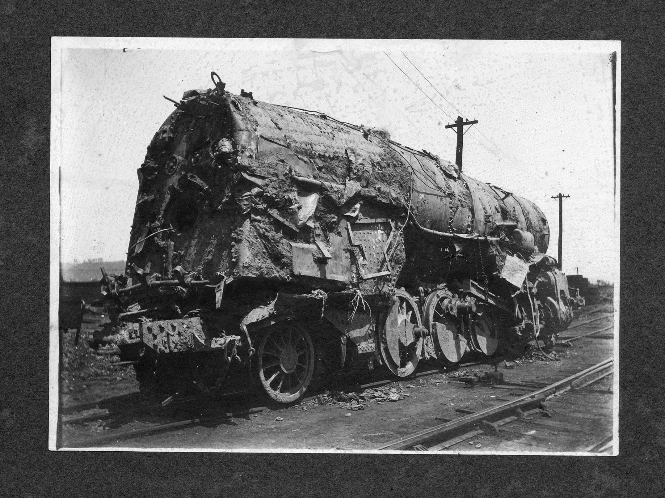 The badly damaged Engine No. 820 was recovered in June 1913 and eventually returned to service. Image courtesy of Marshall University Special Collections.