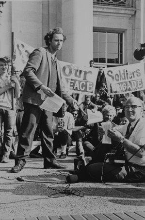Mario Savio on Sproul Hall steps at UC Berkeley in 1966