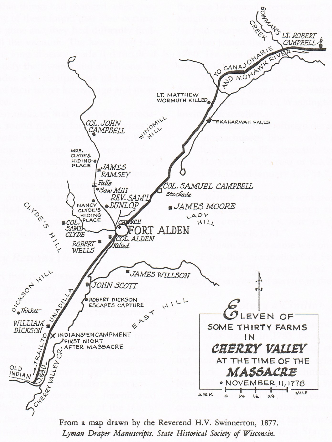 Map of Cherry Valley at the time of the massacre