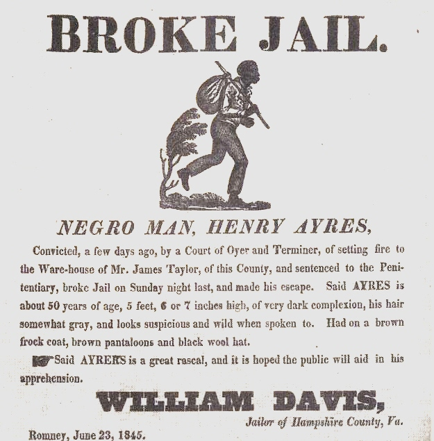 A runaway slave advertisement from Hampshire County (1845)