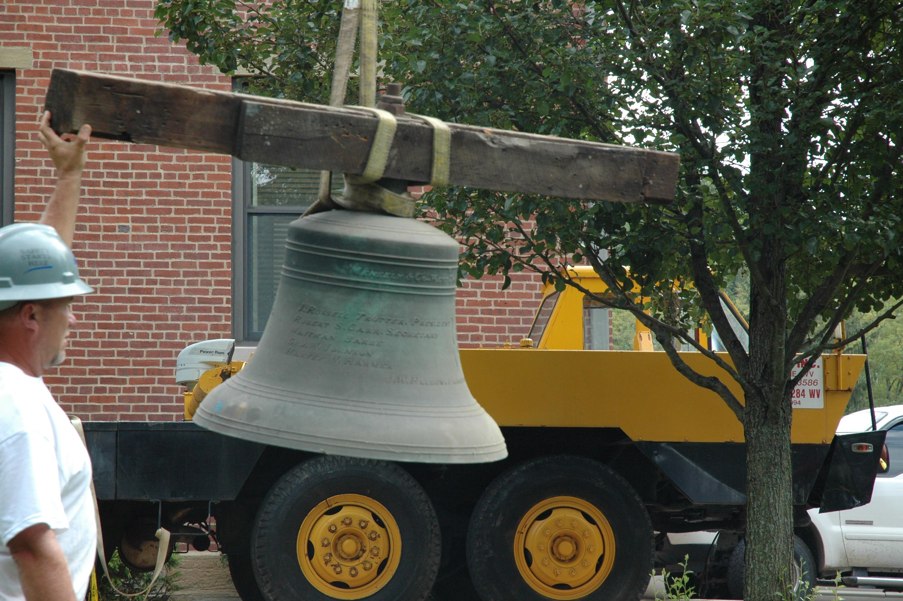 The bell was the heaviest item to be removed from the original clock workings that were installed in 1899. The Bell is engraved with the names of the 1899 Board of Regents members and the Principal of the Glenville Normal School at the time.