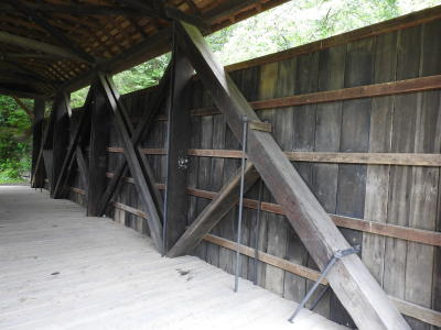Interior view of the bridge. The Long trusses used are visible