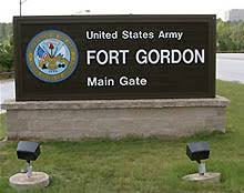 The main gate of Fort Gordon's base that sits just a few miles southwest from August, Georgia.
