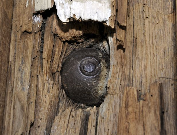 This cannon ball was shot into the side of Keeler's Tavern. The ball is still there today.